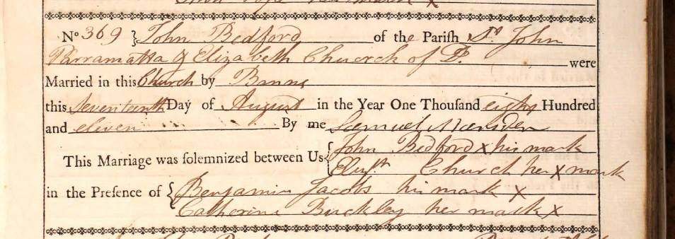 bedford church marriage cert